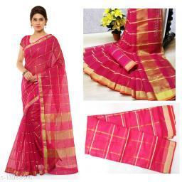 Trendy Kota Doria Cotton Zari Stripes Saree With Blouse Piece (Rani)