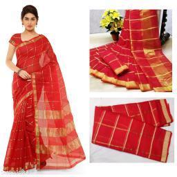 Trendy Kota Doria Cotton Zari Stripes Saree With Blouse Piece (Red)