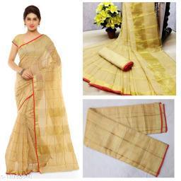 Trendy Kota Doria Cotton Zari Stripes Saree With Blouse Piece (Beige)