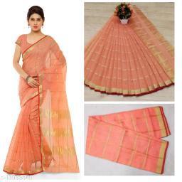 Trendy Kota Doria Cotton Zari Stripes Saree With Blouse Piece (Peach)