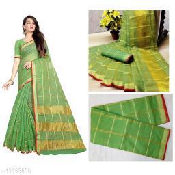 Trendy Kota Doria Cotton Zari Stripes Saree With Blouse Piece (Green)