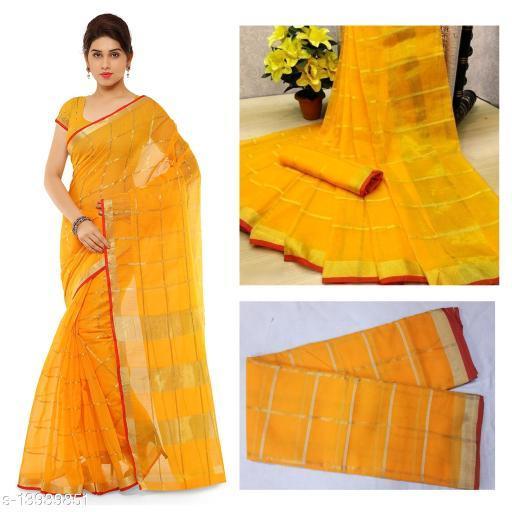 Trendy Kota Doria Cotton Zari Stripes Saree With Blouse Piece (Yellow)