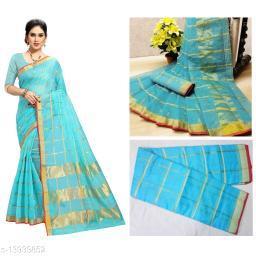 Trendy Kota Doria Cotton Zari Stripes Saree With Blouse Piece (Sky Blue)
