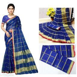 Trendy Kota Doria Cotton Zari Stripes Saree With Blouse Piece (Blue)