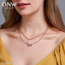 Arzonai European and American double layer acrylic butterfly necklace Fashion letter Lover pendant Necklace for women and Girls