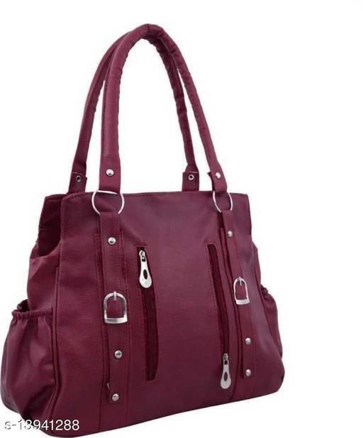 Beautiful Women's Maroon Canvas & Leather Handbag