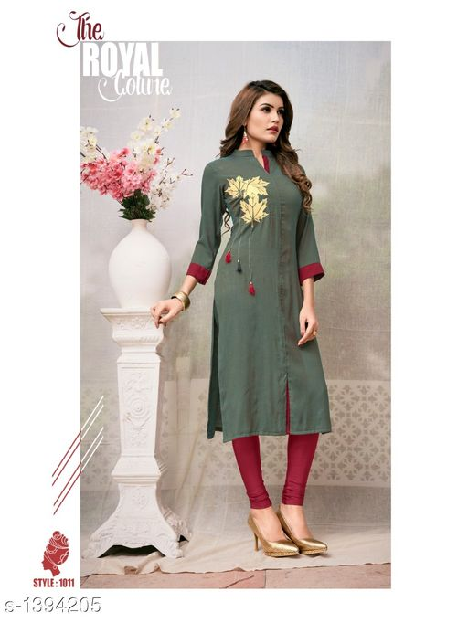 Kurta Sets Women's Printed Rayon Kurta set with Churidar  *Fabric* Kurti - Two Tone Rayon, Legging - Two Tone Rayon  *Sleeves* Sleeves Are Included  *Size* Kurti - XL - 42 in, Legging - 34 in  *Length* Up To  47 in            *Type* Stitched  *Description* It Has 1 Piece Of Kurti With Legging  *Work* Printed, Tussel Work  *Sizes Available* XL *    Catalog Name: Women's Embroidered Rayon Kurta Sets CatalogID_180491 C74-SC1003 Code: 259-1394205-