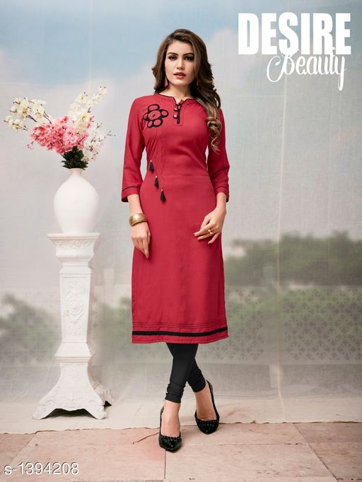 Kurta Sets Women's Embroidered Rayon Kurta set with Churidar  *Fabric* Kurti - Two Tone Rayon, Legging - Two Tone Rayon  *Sleeves* Sleeves Are Included  *Size* Kurti - XL - 42 in, Legging - 34 in  *Length* Up To  47 in            *Type* Stitched  *Description* It Has 1 Piece Of Kurti With Legging  *Work* Printed, Tussel Work  *Sizes Available* XL *    Catalog Name: Women's Embroidered Rayon Kurta Sets CatalogID_180491 C74-SC1003 Code: 259-1394208-