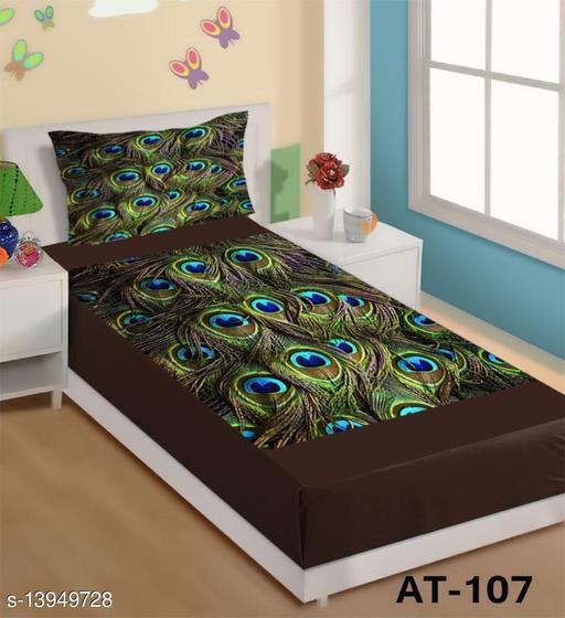 Velvet Single bedsheet with 1 Pillow Cover - Size 60 x 90 inch Pillow Cover Size-17 * 27 INCHES