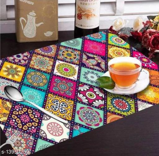 PVC Printed Placemats for Dining Table and Kitchen (45 x 30 cm) Set of 6 Pieces ||Hot Vessels Transparent Dining Mat | table mat 7