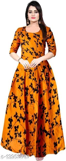Women Rayon Gown Printed Yellow Kurti