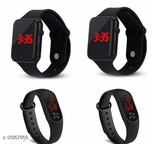 latest trendy black dial digital pack of 4 birthday gift watches for age group 7 to 17 years children-kids