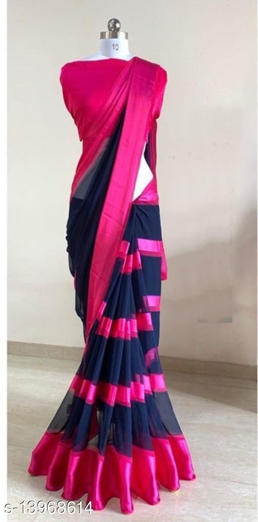 Fresh Designer Satin Patta Sarees With Blouse Piece