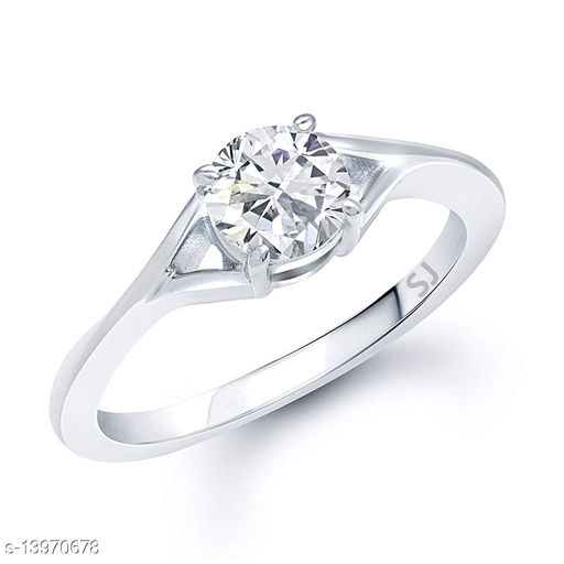 Netra Fashion Jewellery Single Solitaire Rhodium Plated Alloy Finger Ring for Women & Girls