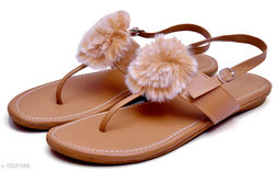 Attractive Women's Fur Peach Flats