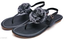 Beautiful Women's Fur Black Sandals