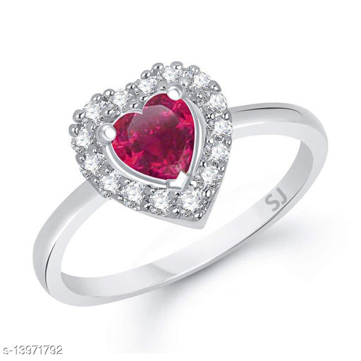 Netra Fashion Jewellery Red Ruby Heart Rhodium Plated Alloy Finger Ring for Women & Girls