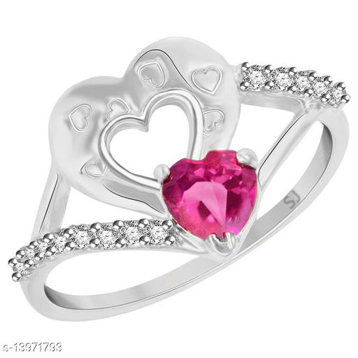 Netra Fashion Jewellery Pink Ruby Heart Rhodium Plated Alloy Finger Ring for Women & Girls