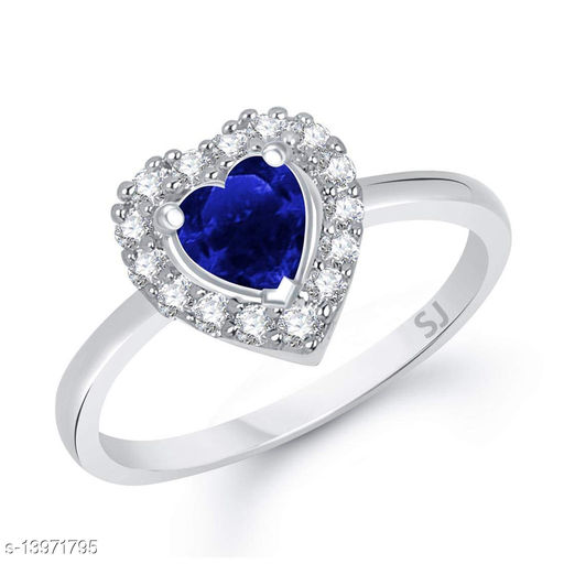 Netra Fashion Jewellery Blue Ruby Heart Rhodium Plated Alloy Finger Ring for Women & Girls