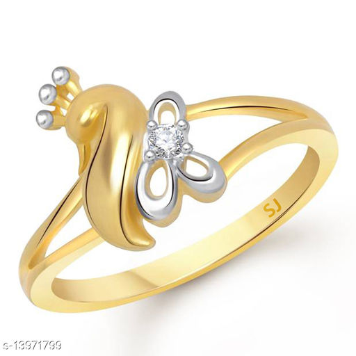 Netra Fashion Jewellery Peacock Inspired Gold Plated Alloy Finger Ring for Women & Girls
