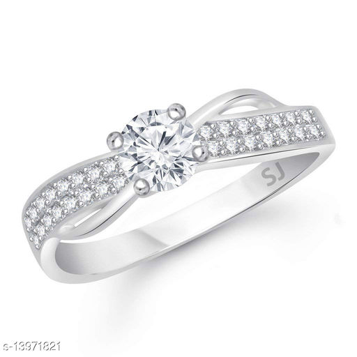Netra Fashion Jewellery Cluster Solitaire Rhodium Plated Alloy Finger Ring for Women & Girls