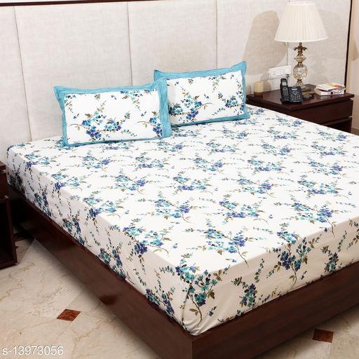 STYLESPACE BY ISHA Block  Print 100% Cotton 260 TC Double Bedsheet with 2 Pillow Covers- Blue and White