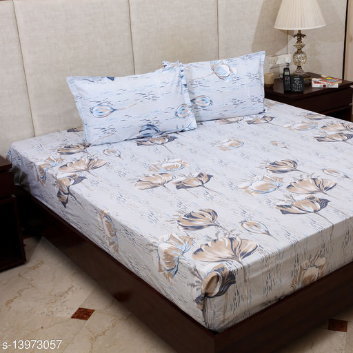 STYLESPACE BY ISHA Classy Collection 100% Cotton 260 TC Double Bedsheet with 2 Pillow Covers- Blue Color