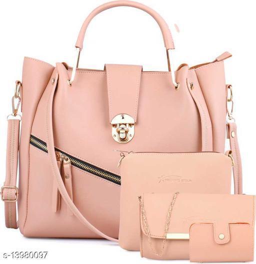 Trendy Women's Peach Faux Leather/Leatherette Handbag