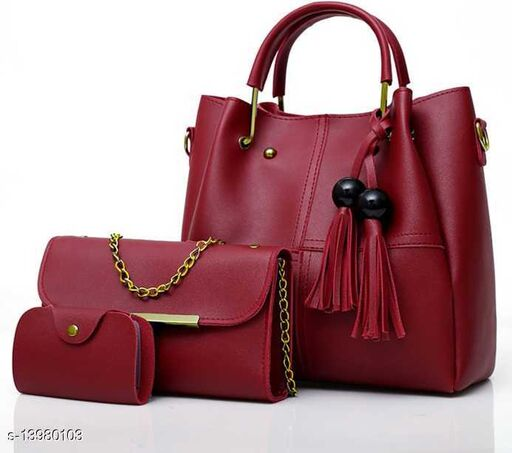 Attractive Women's Maroon Faux Leather/Leatherette Slingbag