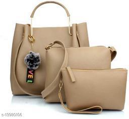 Trendy Women's Cream Faux Leather/Leatherette Handbag