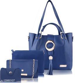 Trendy Women's Blue Faux Leather/Leatherette Handbag set