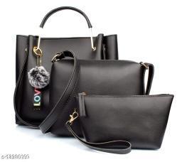 Beautiful Women's Multipack Black Faux Leather/Leatherette Handbag
