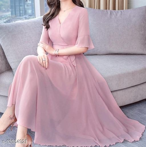 Womens Light Purple V-Neck Dress