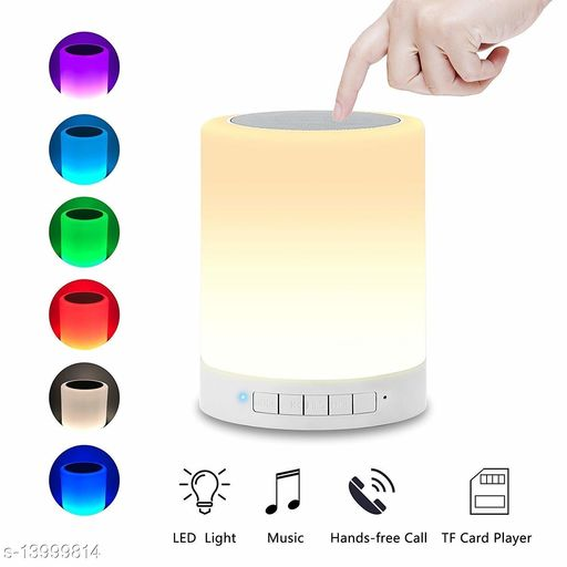 Vollmond LED Touch Lamp Bluetooth with TWS Wireless HiFi Music Speaker with Colour Changing Light, Portable Rechargeable USB with SD Card Slot/AUX Input (Multicolour)