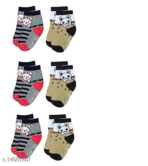Newborn Colorful Soft Cotton Baby Socks (Pack Of 6 Pairs)