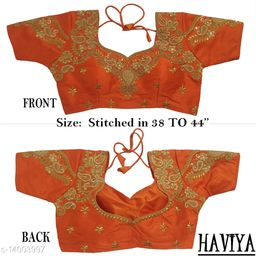 Women's Phantom Silk Orange Embroidered Stitch Blouse