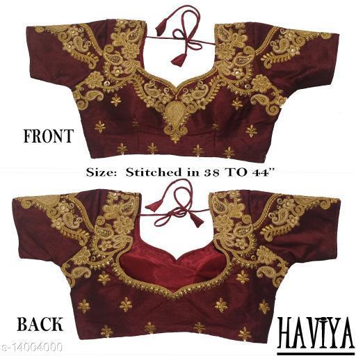 Women's Phantom Silk Maroon Embroidered Stitch Blouse