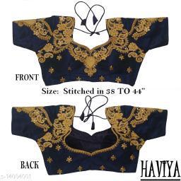 Women's Phantom Silk Navy Blue Embroidered Stitch Blouse