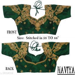Women's Phantom Silk Green Embroidered Stitch Blouse