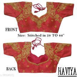 Women's Phantom Silk Peach Embroidered Stitch Blouse