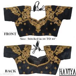 Women's Phantom Silk Black Embroidered Stitch Blouse