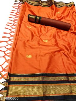 Irkal Traditional Paithani Silk Sarees With Contrast Blouse Piece (Orange & Black)