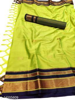 Irkal Traditional Paithani Silk Sarees With Contrast Blouse Piece (Lemon & Navy)