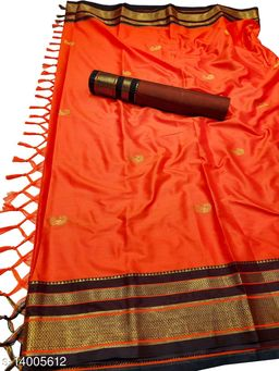 Irkal Traditional Paithani Silk Sarees With Contrast Blouse Piece (Bhagwa & Black)