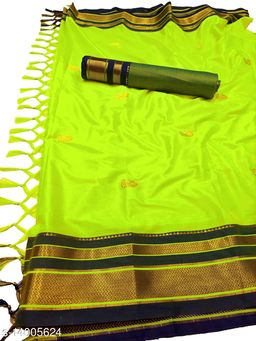 Irkal Traditional Paithani Silk Sarees With Contrast Blouse Piece (Neon & Black)