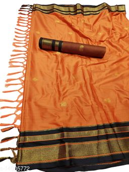 Irkal Traditional Paithani Silk Sarees With Contrast Blouse Piece (Rust & Black)