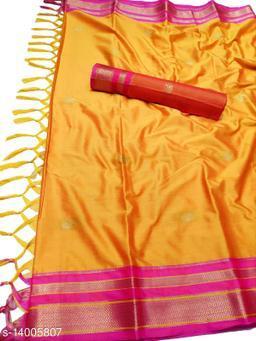 Irkal Traditional Paithani Silk Sarees With Contrast Blouse Piece (Mango & Pink)