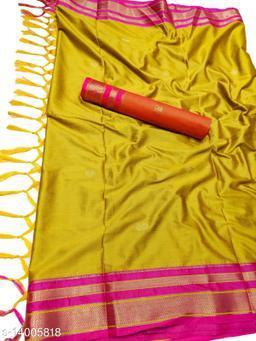 Irkal Traditional Paithani Silk Sarees With Contrast Blouse Piece (Mustard & Pink)