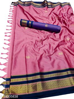 Irkal Traditional Paithani Silk Sarees With Contrast Blouse Piece (Peach & Navy)