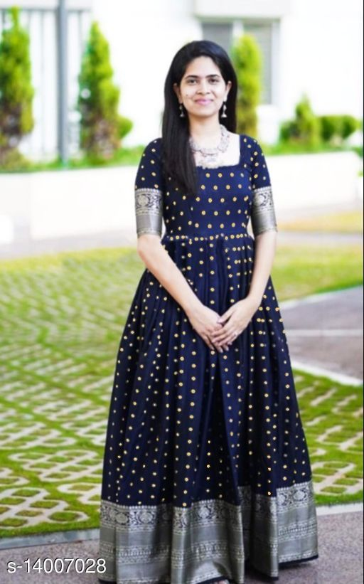 Exclusive Neavy Blue colored Tapeta Silk with Jacquard fabric Ready made Gown